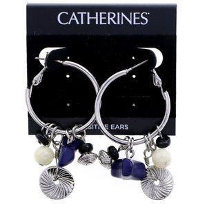 3/$20 Catherines silver and blue hoops with charms